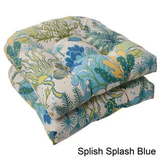 Pillow Perfect 'Splish Splash' Outdoor Wicker Seat Cushions (Set of 2)