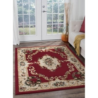 Alise Lagoon Traditional Red Area Rug (7'6 x 9'10)