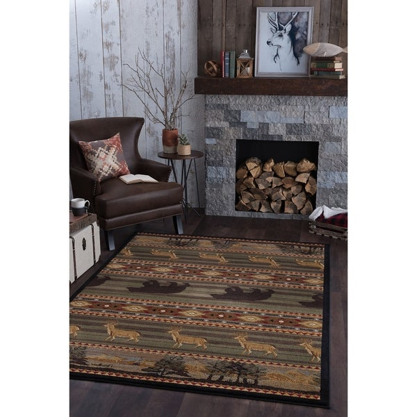 Alise Natural Lodge Green Area Rug - 7'10 x 10'3