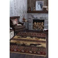 Alise Natural Lodge Red Area Rug - 5'3 x 7'3