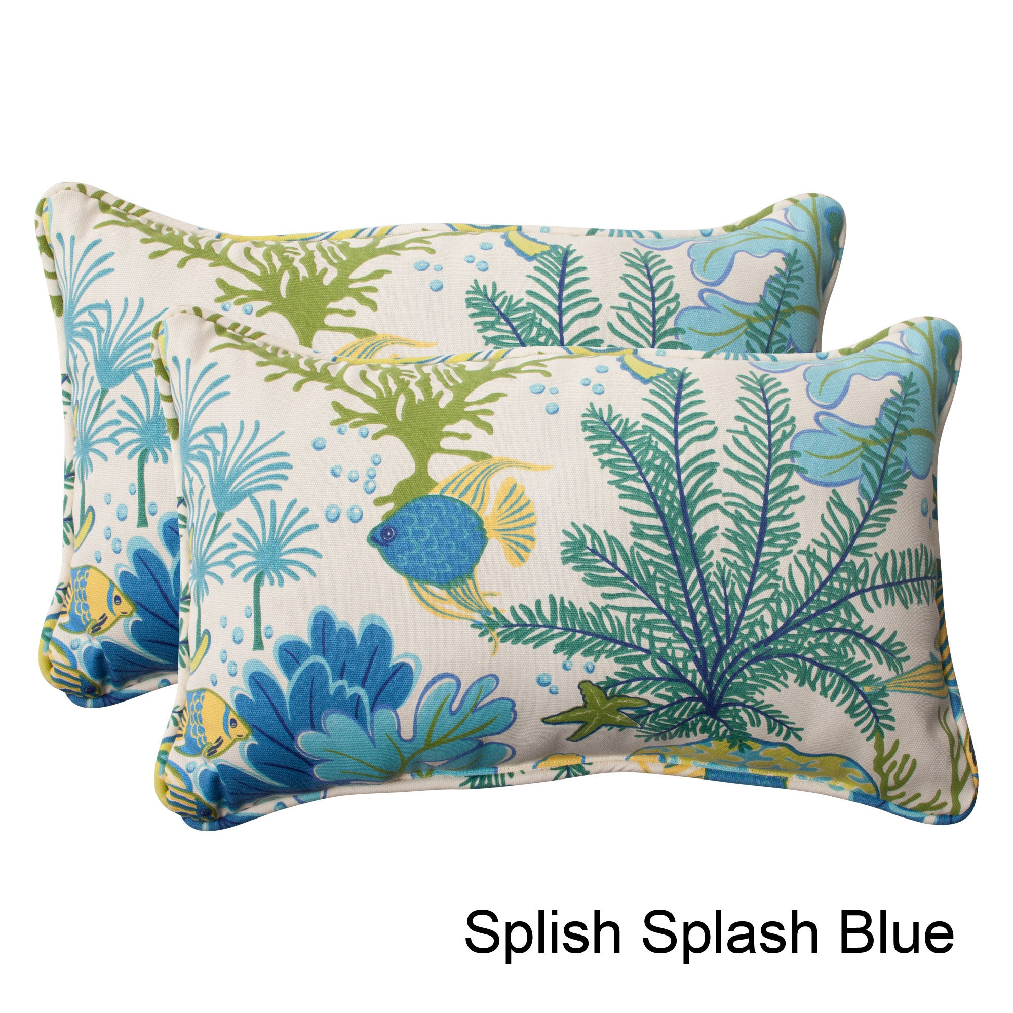 Pillow Perfect Splish Splash Outdoor Throw Pillows Set Of 2