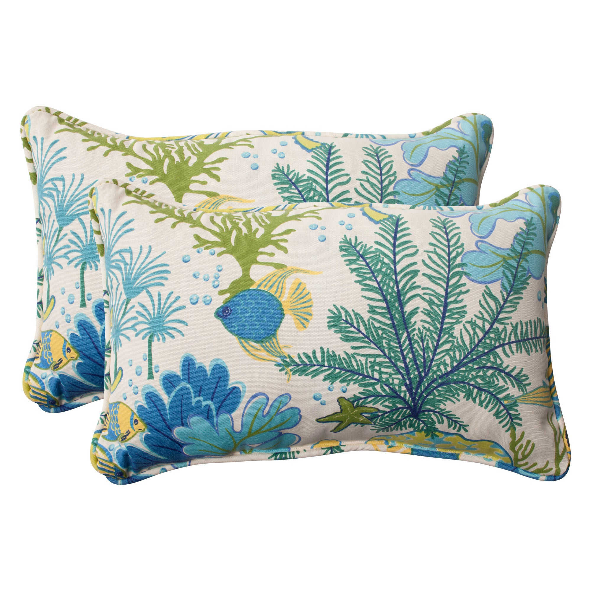 Pillow Perfect Splish Splash Outdoor Throw Pillows Set Of 2 Overstock 7847493 Splish Splash Blue