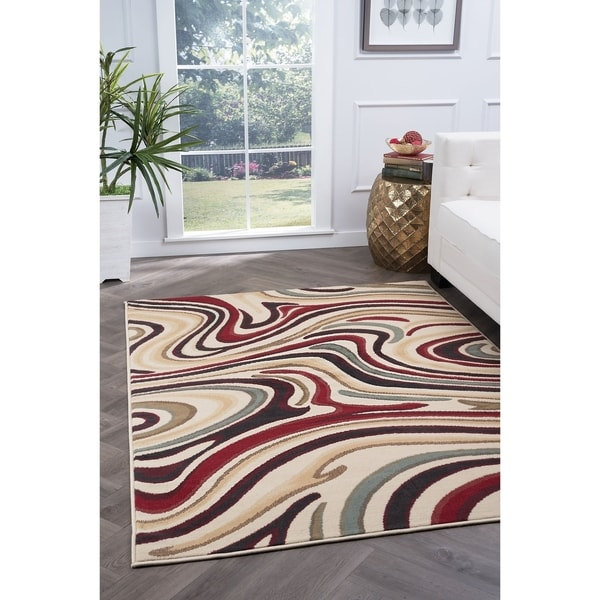 Alise Rugs Lagoon Contemporary Abstract Area Rug - multi - 5' x 7'
