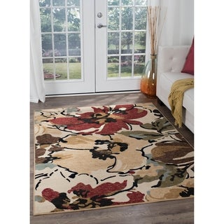 Alise Lagoon Contemporary Beige Area Rug (7'6 x 9'10)