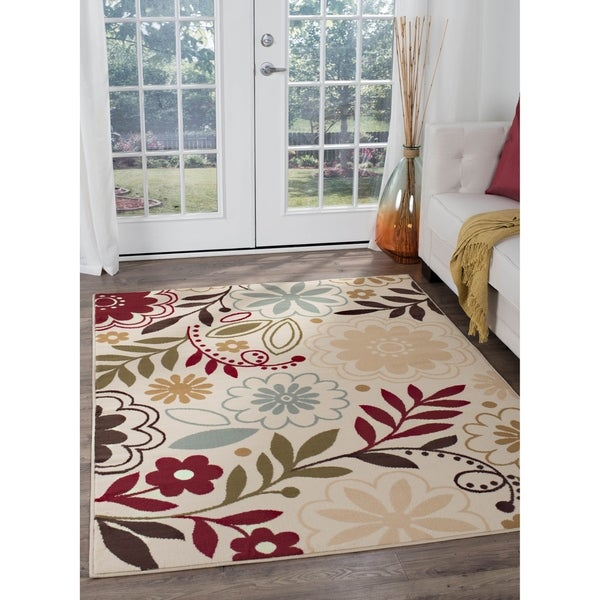 Alise Rugs Lagoon Contemporary Floral Area Rug - 5' x 7'