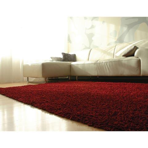Jani Modern EcoShag Scarlet Red Rug