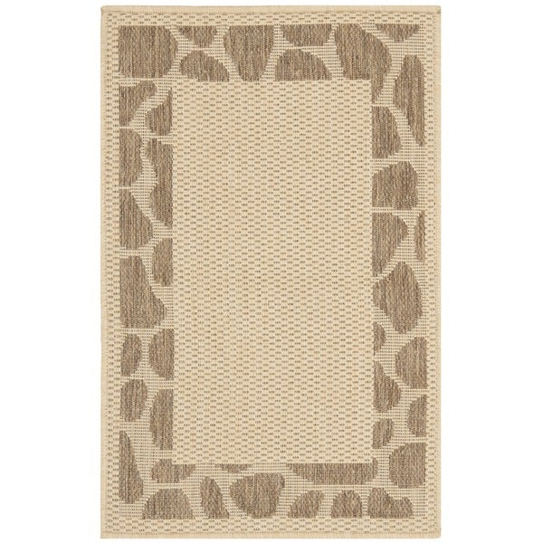 Safavieh Courtyard Border Cream/ Chocolate Indoor/ Outdoor Rug (2' x 3'7)