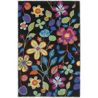Safavieh Hand-Hooked Four Seasons Black/ Multicolored Polyester Rug (2'6 x 4')