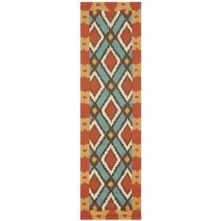 Safavieh Four Seasons Indoor/ Outdoor Hand-hooked Light Blue Rug (2' x 6')