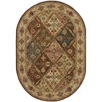 Safavieh Handmade Heritage Traditional Bakhtiari Beige Wool Rug - 4'6 x 6'6 Oval