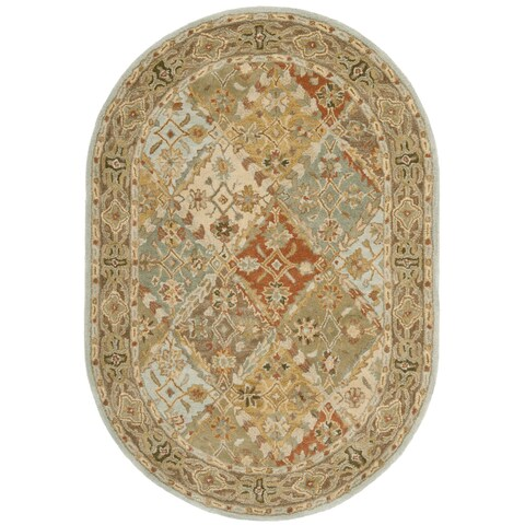 "Safavieh Handmade Heritage Traditional Bakhtiari Light Blue/ Light Brown Wool Rug - 4'6"" x 6'6"" Oval"