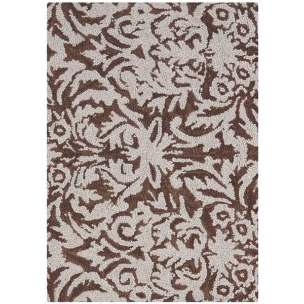 Safavieh Hand-hooked Chelsea Damask Brown Wool Rug (1'8 x 2'6)