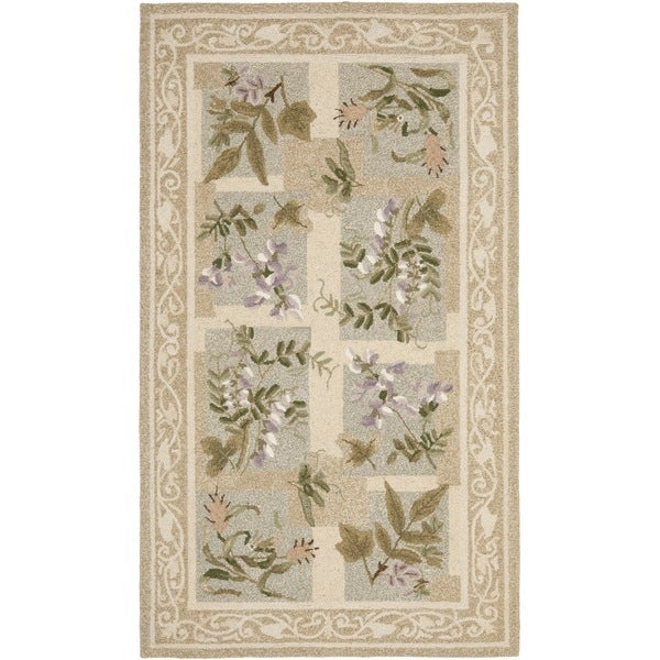 Safavieh Hand-hooked Floral Panels Light Green Wool Rug (2'6 x 6')