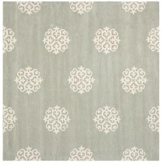 Safavieh Handmade Soho Gray/Ivory New Zealand Wool Floral Rug (6' Square)