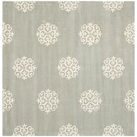 Safavieh Handmade Soho Grey/ Ivory New Zealand Wool Rug - 8' x 8' Square