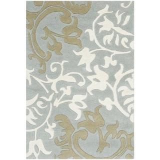 Safavieh Handmade Silhouettes Blue/Grey New Zealand Wool Rug (2' x 3')