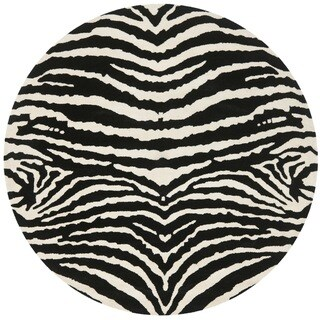 Safavieh Handmade Zebra Ivory/ Black New Zealand Wool Rug (6' x 6' Round)