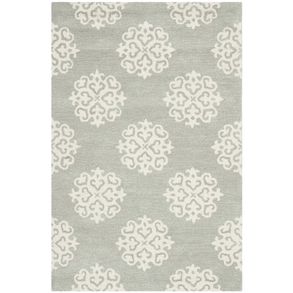 "Safavieh Contemporary Handmade Soho Gray/Ivory New Zealand Wool Rug (3'6"" x 5'6"")"