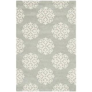 """Safavieh Contemporary Handmade Soho Gray/Ivory New Zealand Wool Rug (3'6"""" x 5'6"""")"""