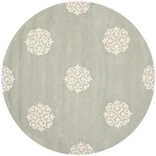 Safavieh Handmade Soho Grey/ Ivory New Zealand Wool Rug (4' Round)