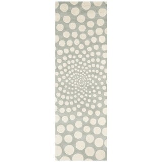 Safavieh Handmade Soho Grey/ Ivory New Zealand Wool Rug (2'6 x 8')