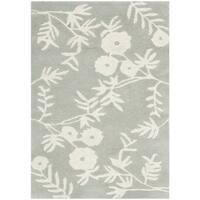 Safavieh Floral Handmade Soho Grey/ Ivory New Zealand Wool Rug - 2' x 3'