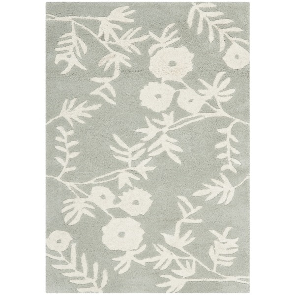 Safavieh Floral Handmade Soho Grey/ Ivory New Zealand Wool Rug (2' x 3')