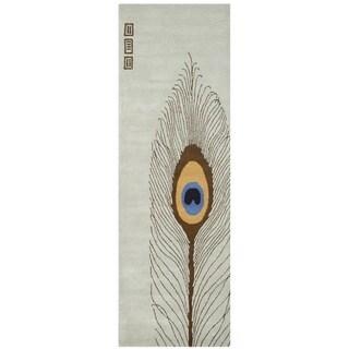 Safavieh Handmade Peacock Feather Grey New Zealand Wool Rug (2'6 x 8')
