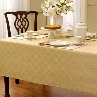 Lenox Laurel Leaf Lattice Cotton Blend Tablecloth (Option: 70 x 86 - Oval - Gold - Design)