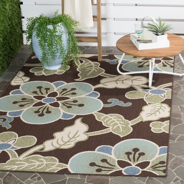 Safavieh Veranda Piled Chocolate/ Aqua Green Brown Rug - 8' x 11'2""