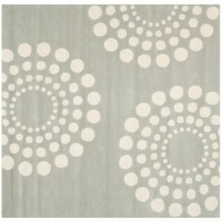 Safavieh Handmade Soho Gray/Ivory New Zealand Wool Rug with Cotton Canvas Backing (6' Square)