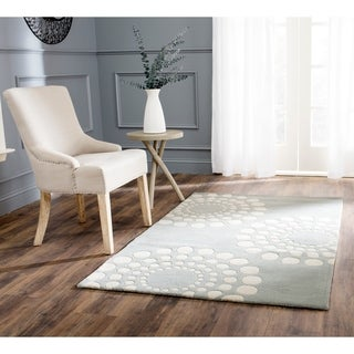 "Safavieh Handmade Soho Gray/Ivory New Zealand Wool Floral Rug (7'6"" x 9'6"")"