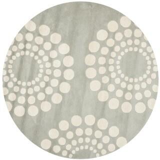 Safavieh Contemporary Handmade Soho Gray/Ivory New Zealand Wool Rug (6' Round)