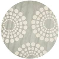Safavieh Contemporary Handmade Soho Gray/Ivory New Zealand Wool Rug - 6' Round