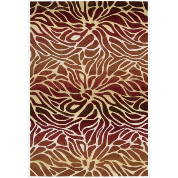Hand-tufted Contour Abstract Lilies Flame Rug - 5' x 7'6