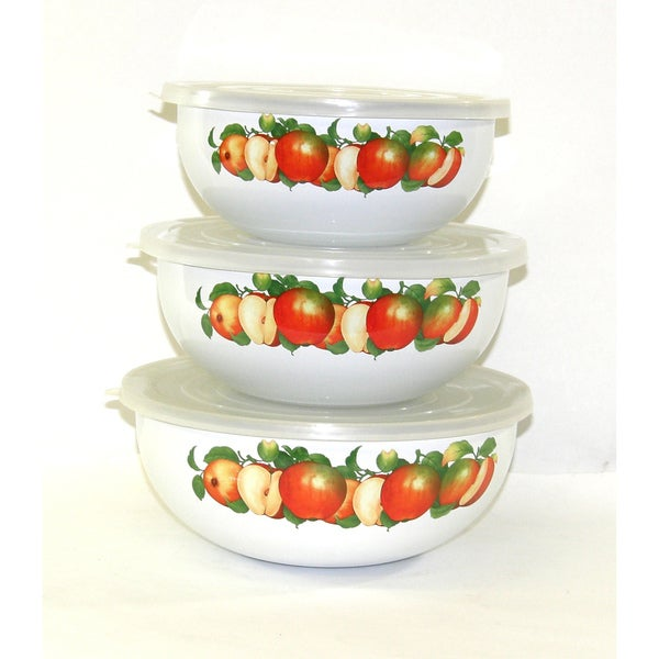 Tropical Apple Steel and Enamel Mixing Storage Bowls (Set of 3)