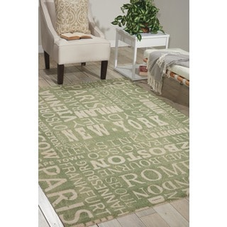 Waverly Sun N' Shade Pattern Destinations Wasabi Area Rug by Nourison (5'3 x 7'5)