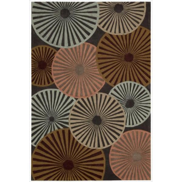 Hand-tufted Contour Pinwheel Multicolored Floral Rug - 5' x 7'6