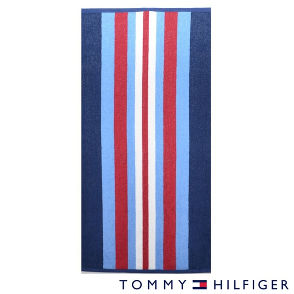 Tommy Hilfiger Preppy Stripe Cotton Beach Towel