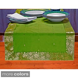 Handmade 14-Inch x 84-Inch Sari Table Runner (India) - 14 x 84 (Option: Yellow)