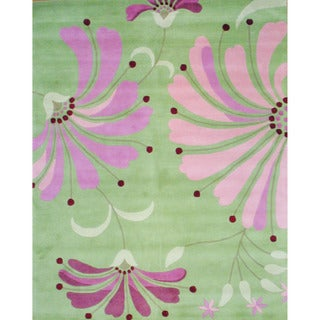 Herat Oriental Indo Hand-tufted Tibetan Light Green/ Pink Wool Area Rug (8' x 10')