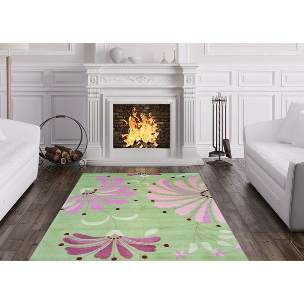 Herat Oriental Indo Hand-tufted Light Green/ Pink Wool Rug - 5' x 8'
