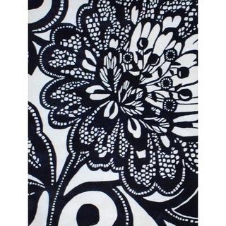 Herat Oriental Indo Hand-tufted Black/ Ivory Wool Rug (5'9 x 7'9)