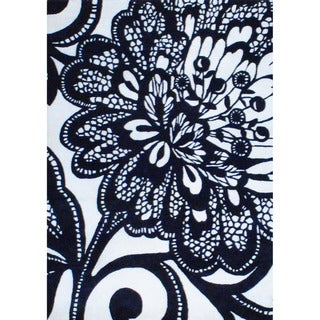 Herat Oriental Indo Hand-tufted Black/ Ivory Wool Rug (4'9 x 6'9)