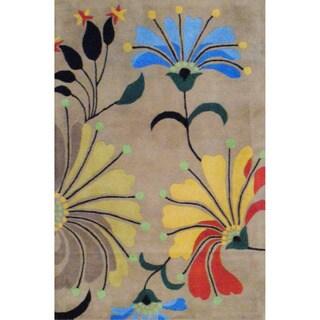 Herat Oriental Indo Hand-tufted Beige/ Light Blue Wool Rug (4' x 6')