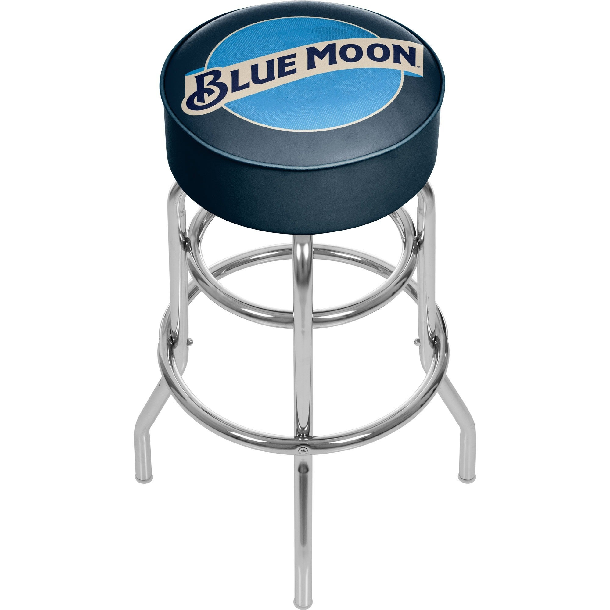 Blue moon chair padded swivel chrome bar stool game room man cave accessories