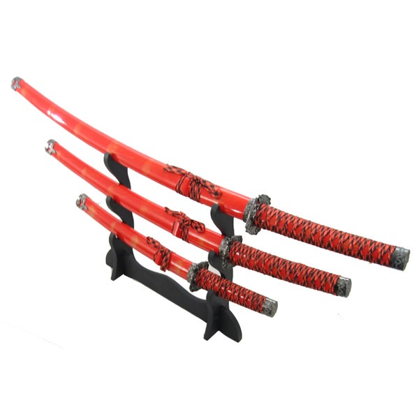 Defender 4-piece Ninja Red Carbon Steel Japanese Samurai Katana Sword Set