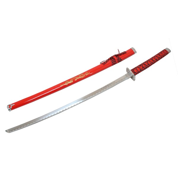 Defender Red Japanese Samurai Ninja Sword with Stand