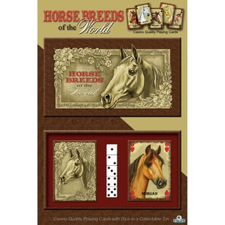 River's Edge 'Horse Breeds of the World' 2-Pack Playing Cards And Dice Gift Tin
