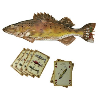 River's Edge Walleye Cribbage Set W/Cards